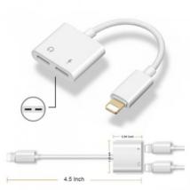 adapter iPhone 7 - 8 - X - dual lightning - headset + töltő átalakító