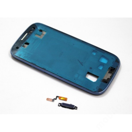 LCD keret Samsung i9305 S3 LTE kék + gomb !AKCIÓS!
