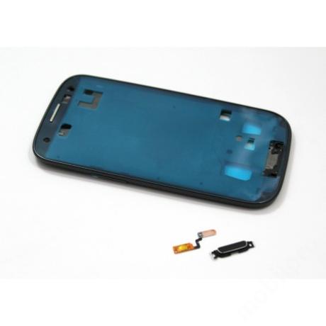 LCD keret Samsung i9300 S3 fekete + gomb !AKCIÓS!
